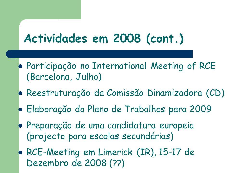 Actividades em 2008 (cont.)Participação no International Meeting of RCE (Barcelona, Julho) Reestruturação da Comissão Dinamizadora (CD)