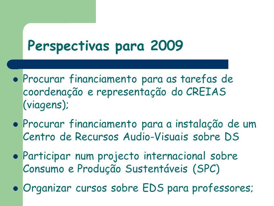 Perspectivas para 2009 Procurar financiamento para as tarefas de coordenação e representação do CREIAS (viagens);