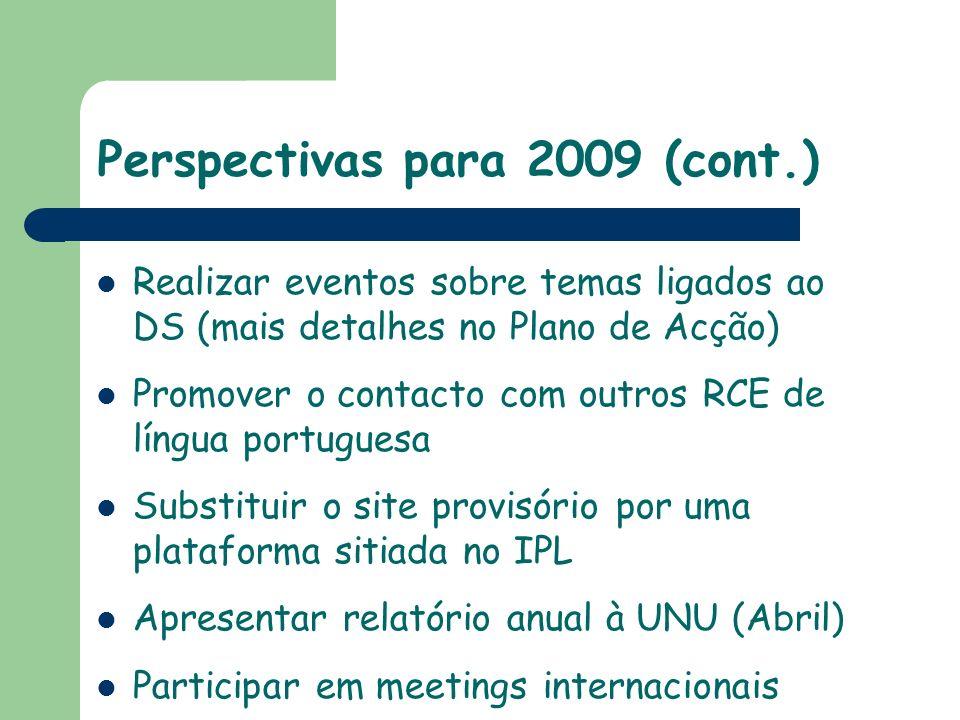Perspectivas para 2009 (cont.)