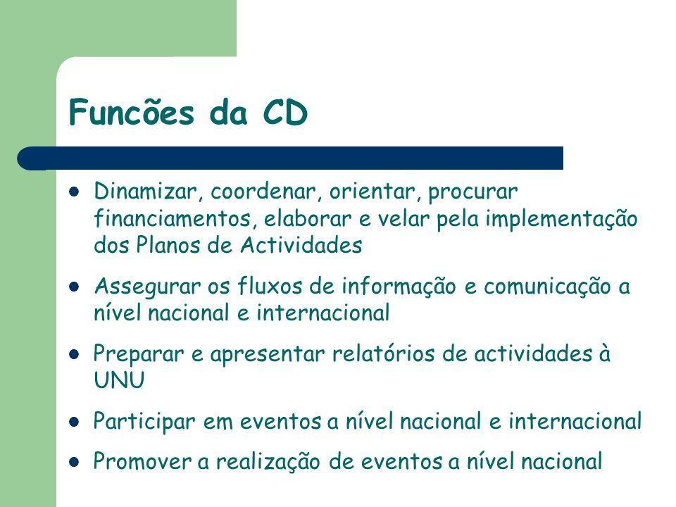 Funcões da CD Dinamizar, coordenar, orientar, procurar financiamentos, elaborar e velar pela implementação dos Planos de Actividades.