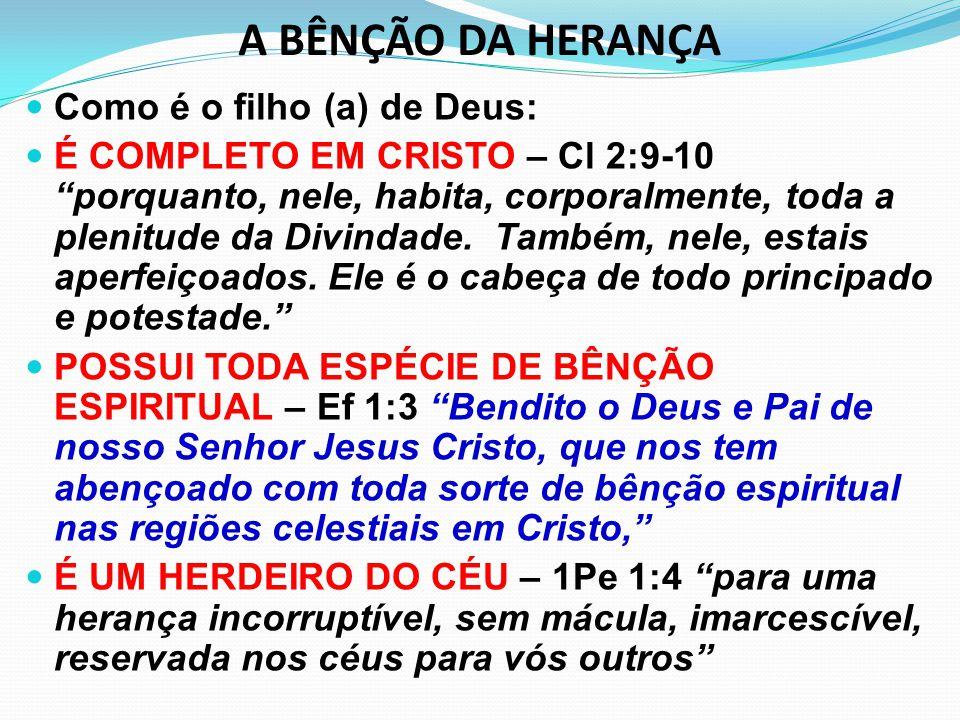 A BÊNÇÃO DA HERANÇA Como é o filho (a) de Deus:
