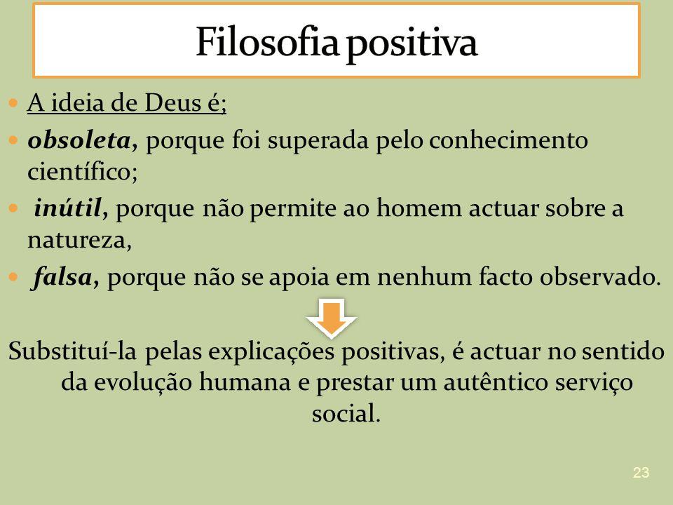 Filosofia positiva A ideia de Deus é;