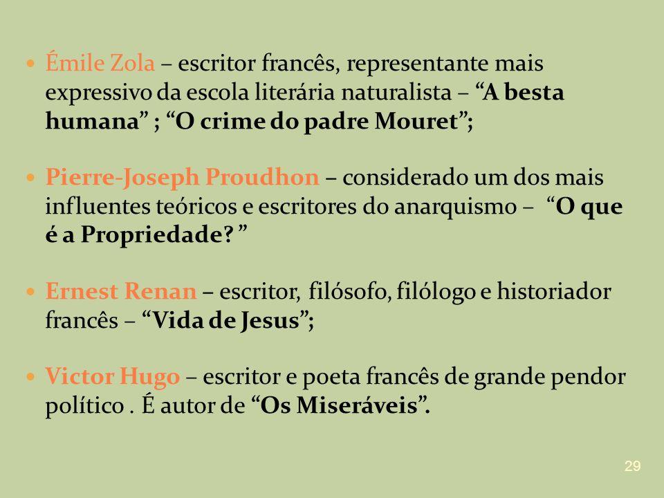 Émile Zola – escritor francês, representante mais expressivo da escola literária naturalista – A besta humana ; O crime do padre Mouret ;
