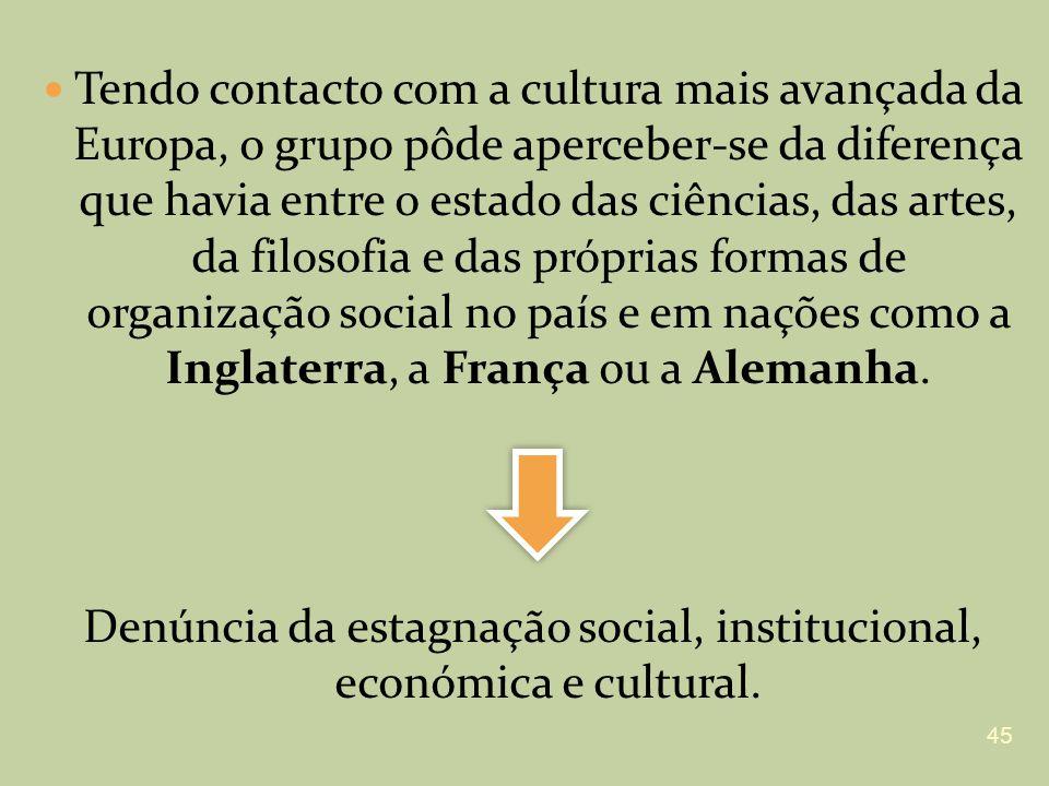 Denúncia da estagnação social, institucional, económica e cultural.