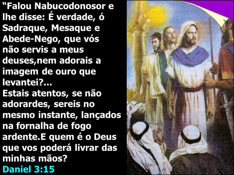 Falou Nabucodonosor e lhe disse: É verdade, ó