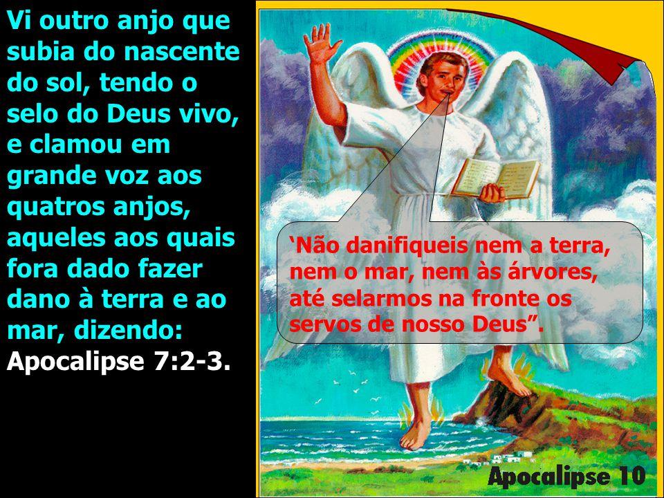 Vi outro anjo que subia do nascente do sol, tendo o selo do Deus vivo, e clamou em grande voz aos quatros anjos, aqueles aos quais fora dado fazer dano à terra e ao mar, dizendo: