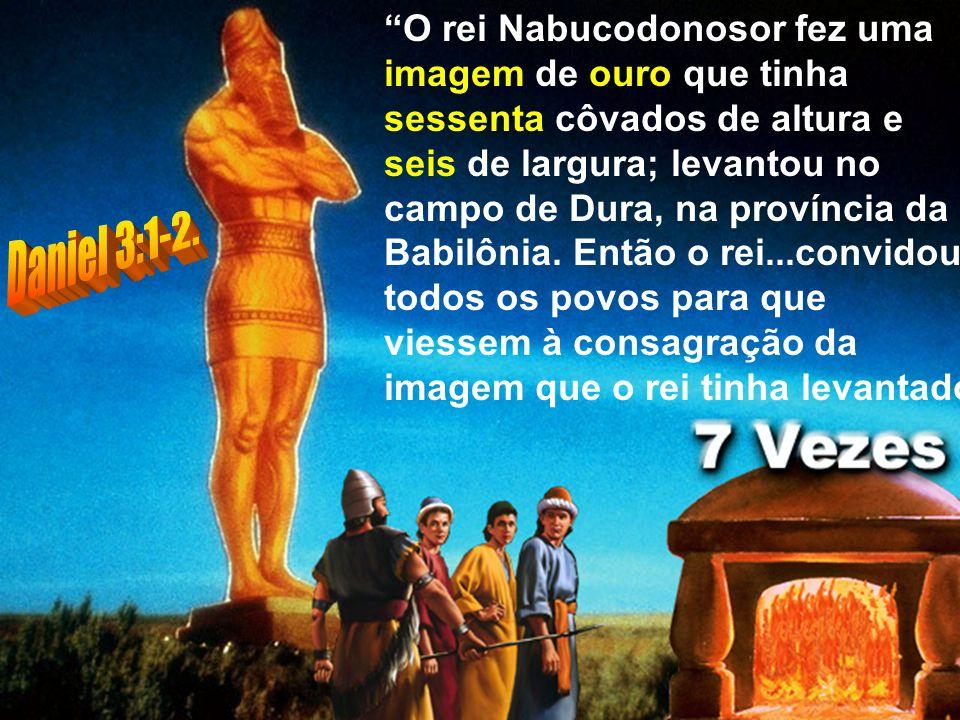 O rei Nabucodonosor fez uma imagem de ouro que tinha sessenta côvados de altura e seis de largura; levantou no campo de Dura, na província da