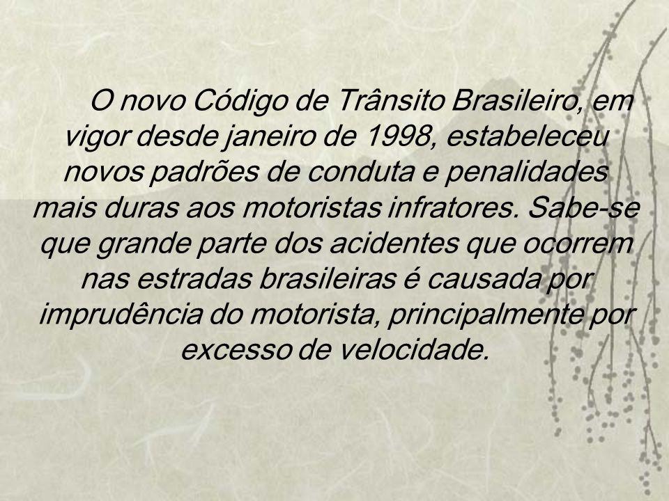 O novo Código de Trânsito Brasileiro, em vigor desde janeiro de 1998, estabeleceu novos padrões de conduta e penalidades mais duras aos motoristas infratores.