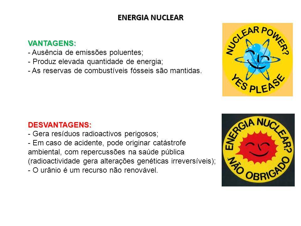 ENERGIA NUCLEAR VANTAGENS: Ausência de emissões poluentes;