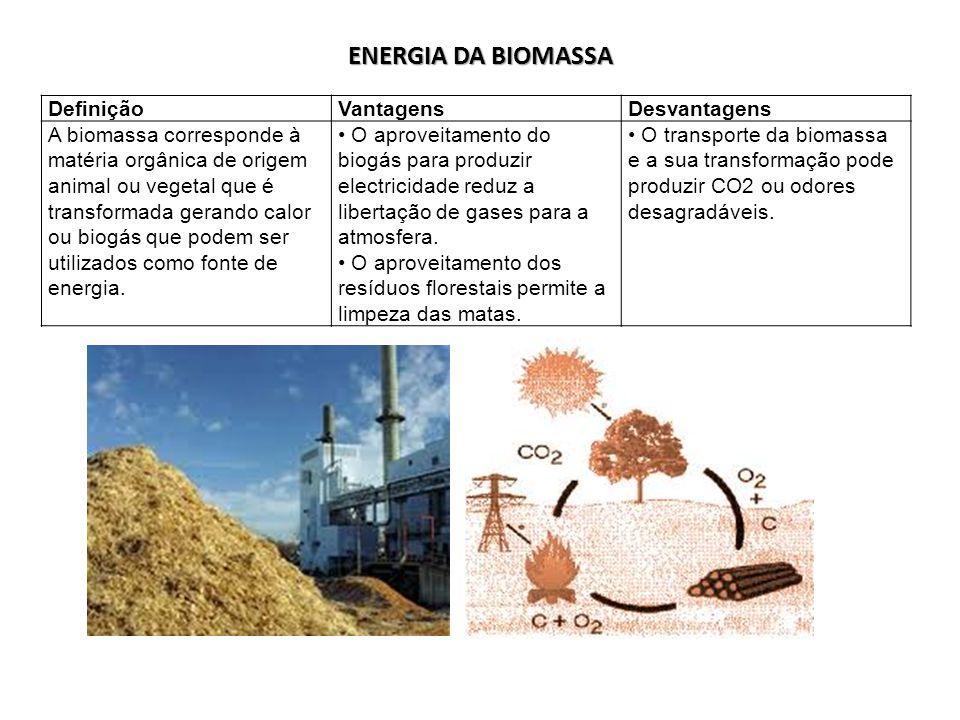 ENERGIA DA BIOMASSA Definição Vantagens Desvantagens
