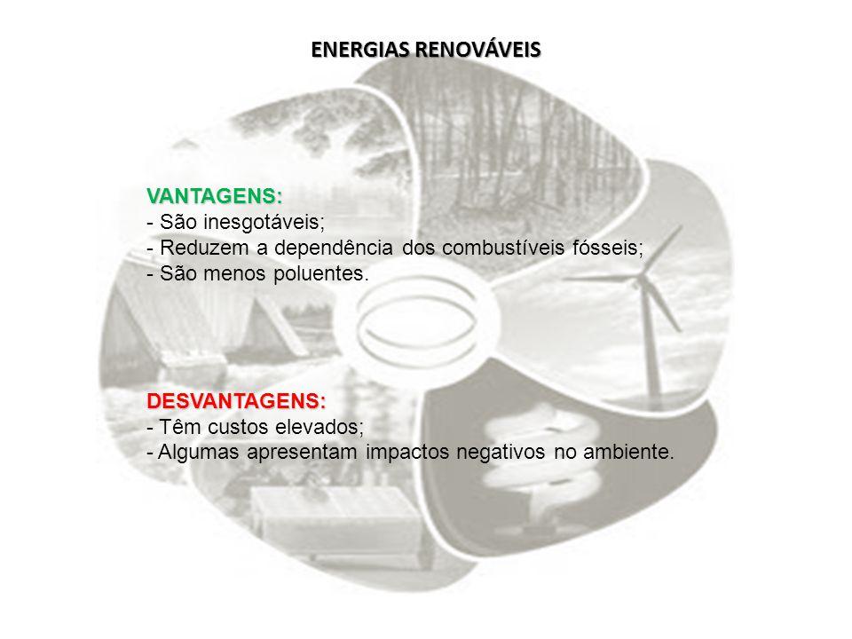 ENERGIAS RENOVÁVEIS VANTAGENS: São inesgotáveis;