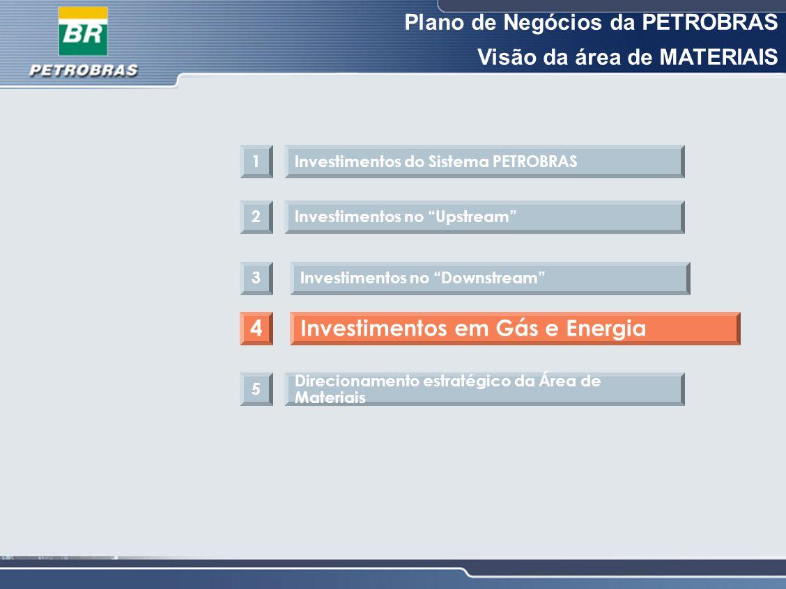 Plano de Negócios da PETROBRAS Visão da área de MATERIAIS