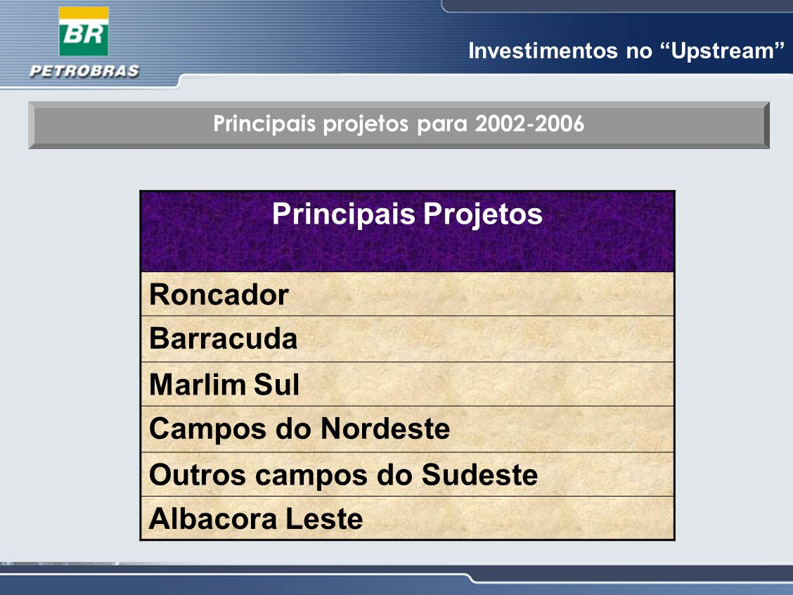 Principais projetos para 2002-2006