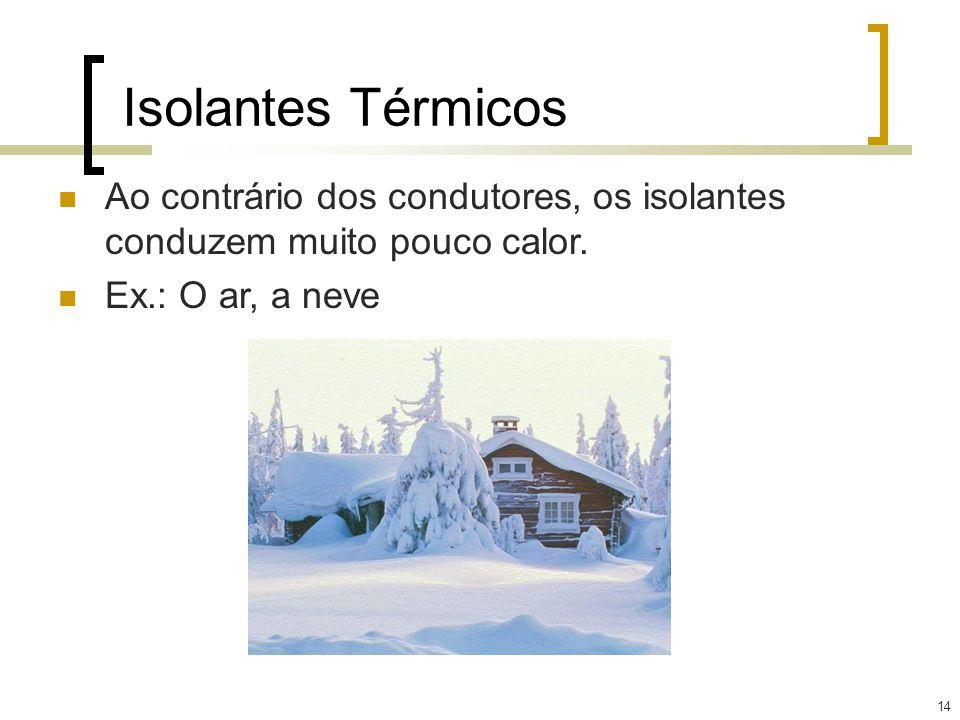 Isolantes Térmicos Ao contrário dos condutores, os isolantes conduzem muito pouco calor. Ex.: O ar, a neve.