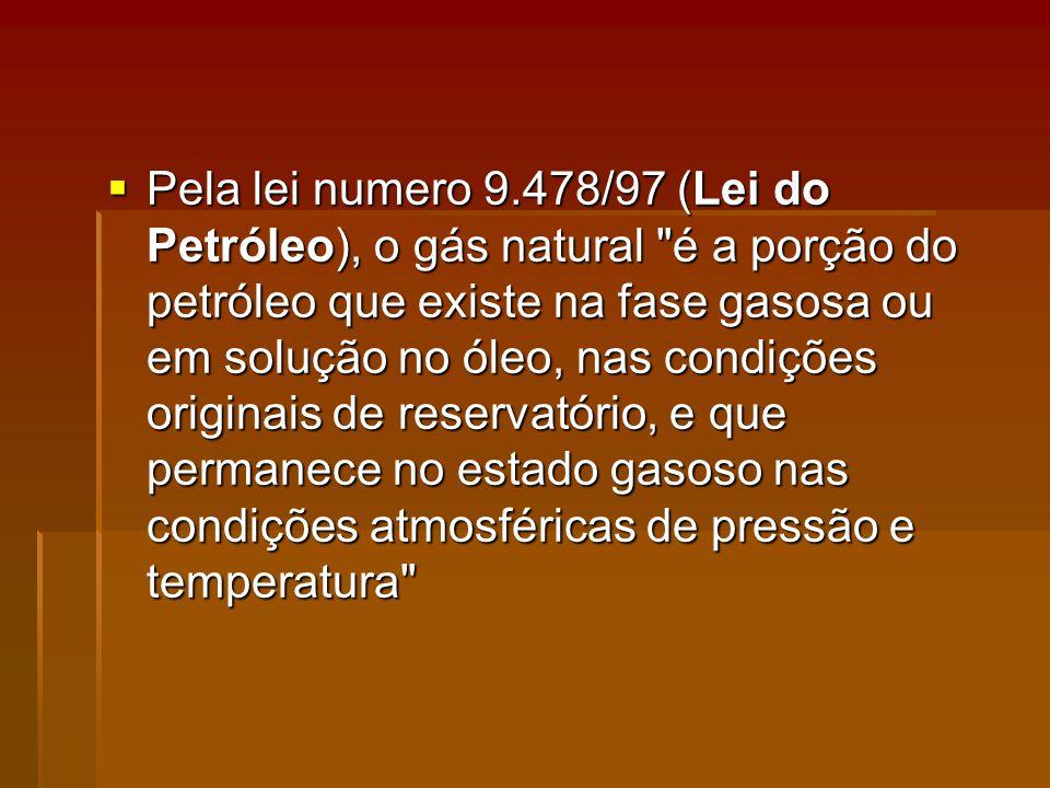 Pela lei numero 9.478/97 (Lei do Petróleo), o gás natural é a porção do petróleo que existe na fase gasosa ou em solução no óleo, nas condições originais de reservatório, e que permanece no estado gasoso nas condições atmosféricas de pressão e temperatura