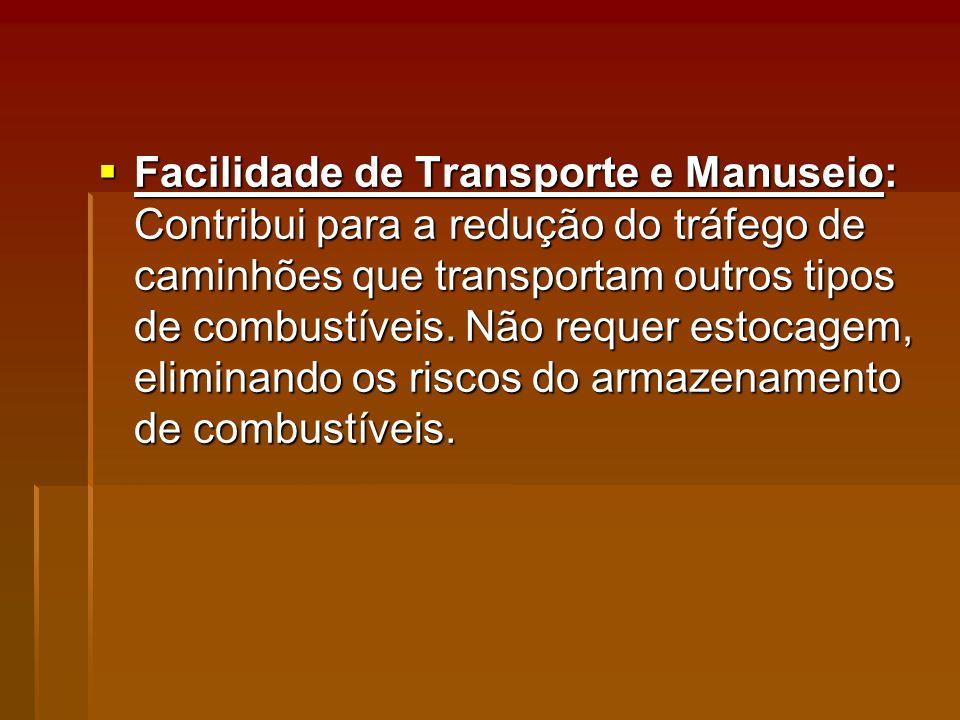 Facilidade de Transporte e Manuseio: Contribui para a redução do tráfego de caminhões que transportam outros tipos de combustíveis.