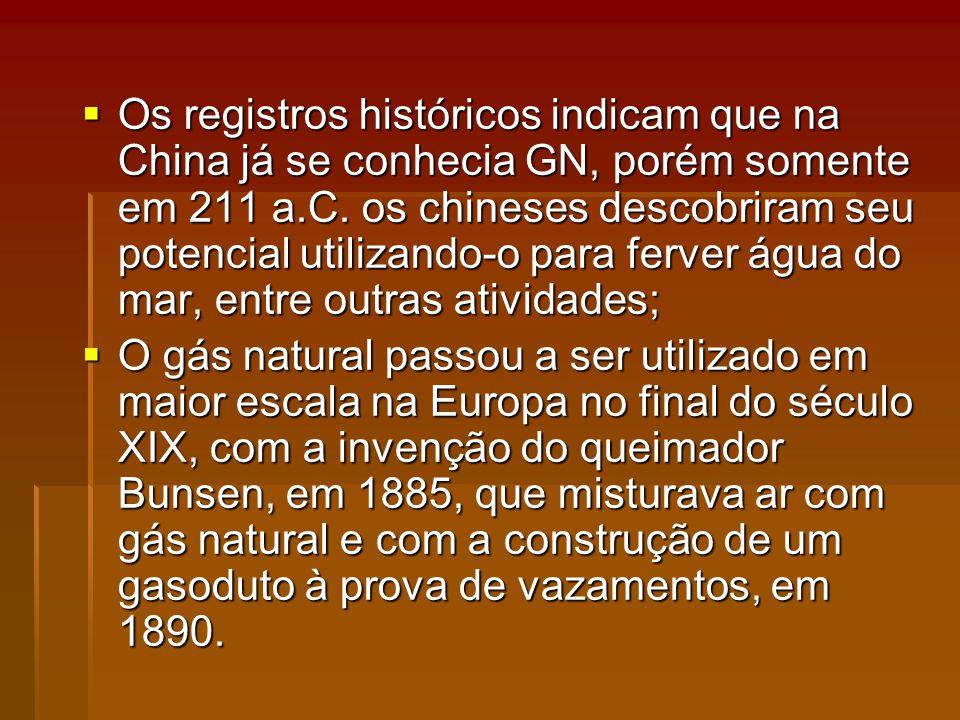 Os registros históricos indicam que na China já se conhecia GN, porém somente em 211 a.C. os chineses descobriram seu potencial utilizando-o para ferver água do mar, entre outras atividades;
