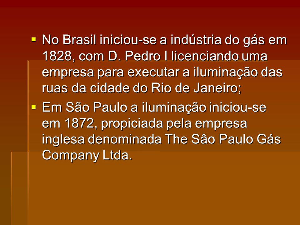 No Brasil iniciou-se a indústria do gás em 1828, com D