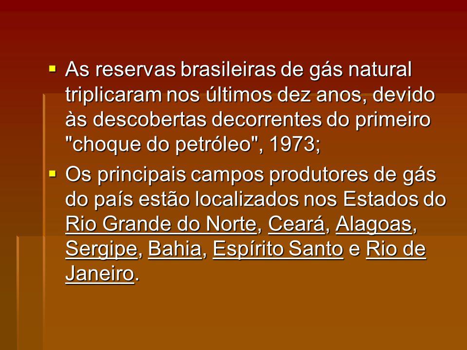 As reservas brasileiras de gás natural triplicaram nos últimos dez anos, devido às descobertas decorrentes do primeiro choque do petróleo , 1973;