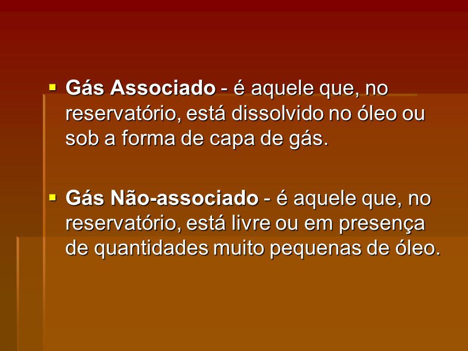 Gás Associado - é aquele que, no reservatório, está dissolvido no óleo ou sob a forma de capa de gás.