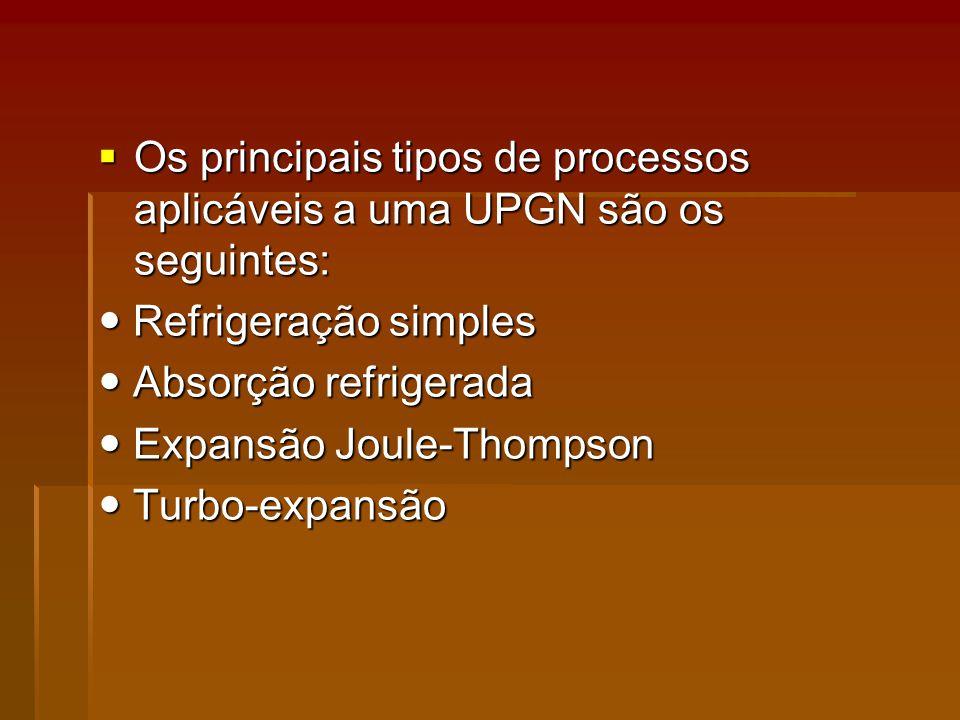 Os principais tipos de processos aplicáveis a uma UPGN são os seguintes: