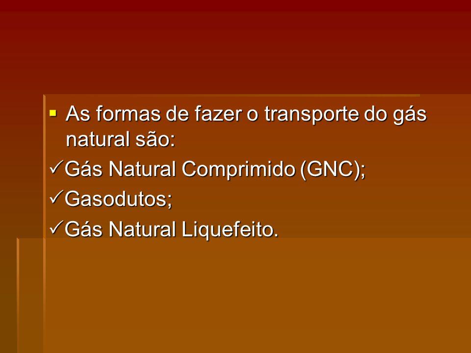 As formas de fazer o transporte do gás natural são: