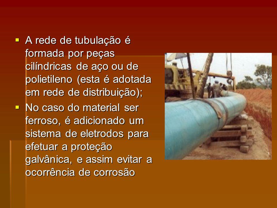 A rede de tubulação é formada por peças cilíndricas de aço ou de polietileno (esta é adotada em rede de distribuição);
