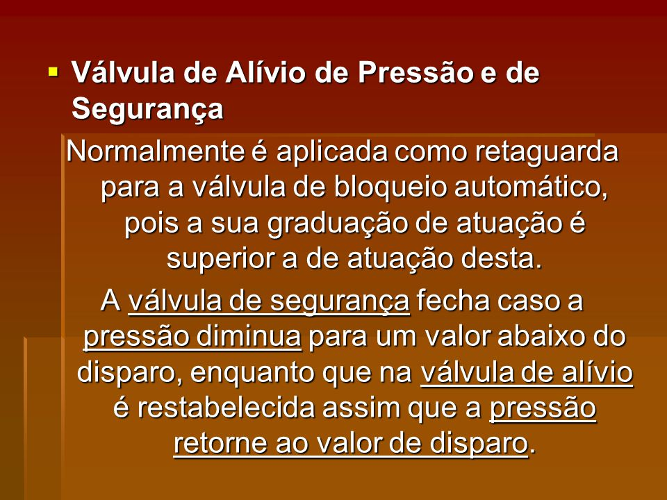 Válvula de Alívio de Pressão e de Segurança