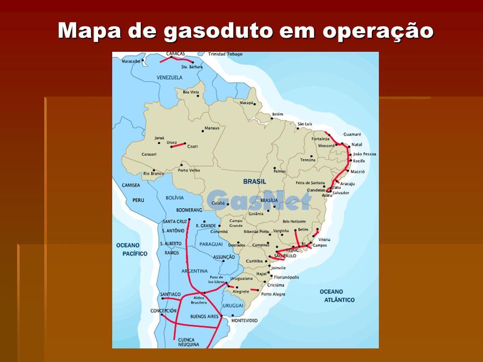 Mapa de gasoduto em operação