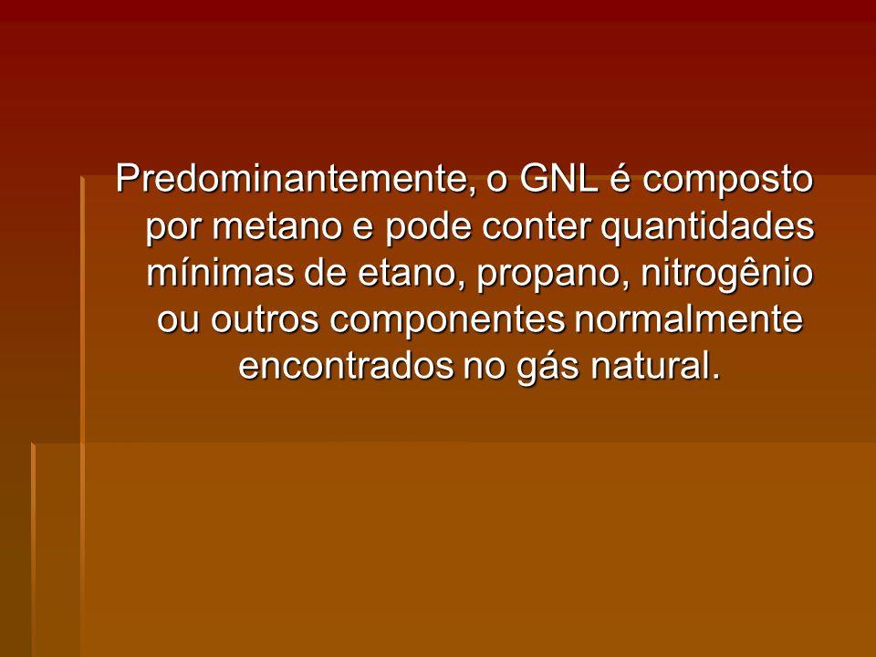 Predominantemente, o GNL é composto por metano e pode conter quantidades mínimas de etano, propano, nitrogênio ou outros componentes normalmente encontrados no gás natural.