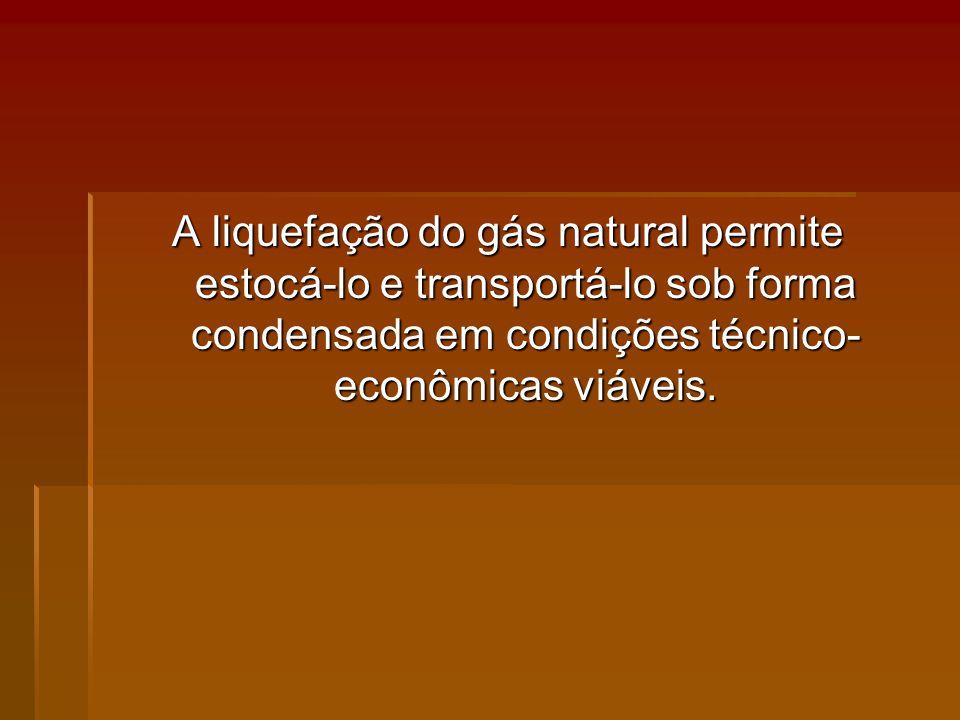 A liquefação do gás natural permite estocá-lo e transportá-lo sob forma condensada em condições técnico-econômicas viáveis.