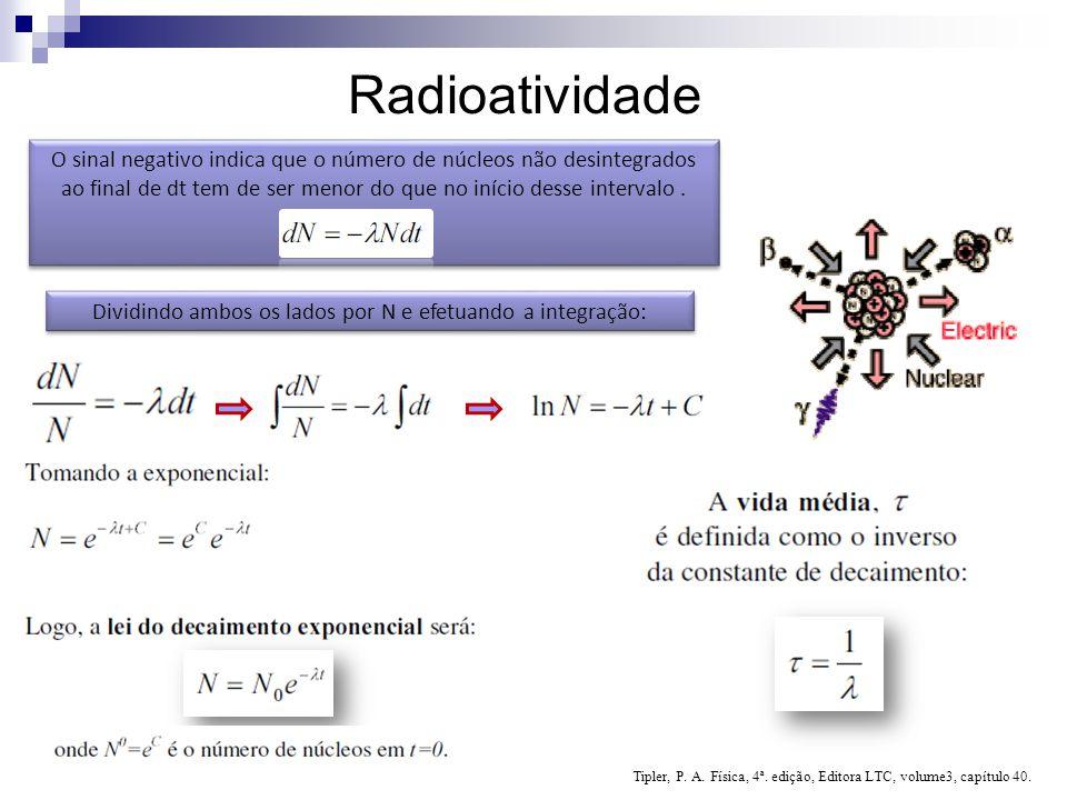 Radioatividade O sinal negativo indica que o número de núcleos não desintegrados ao final de dt tem de ser menor do que no início desse intervalo .