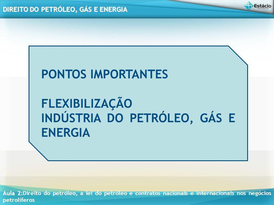 PONTOS IMPORTANTES FLEXIBILIZAÇÃO INDÚSTRIA DO PETRÓLEO, GÁS E ENERGIA