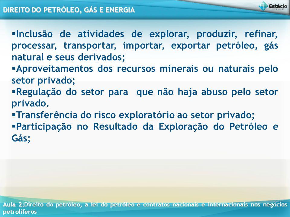 Inclusão de atividades de explorar, produzir, refinar, processar, transportar, importar, exportar petróleo, gás natural e seus derivados;