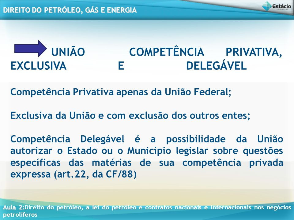 UNIÃO COMPETÊNCIA PRIVATIVA, EXCLUSIVA E DELEGÁVEL