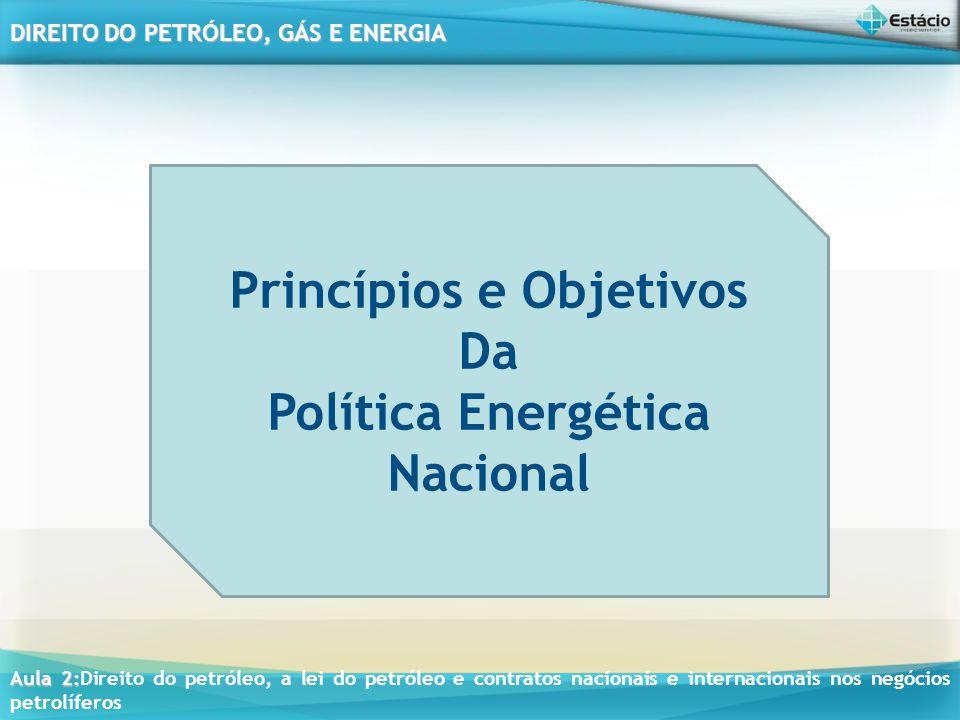 Princípios e Objetivos Política Energética Nacional