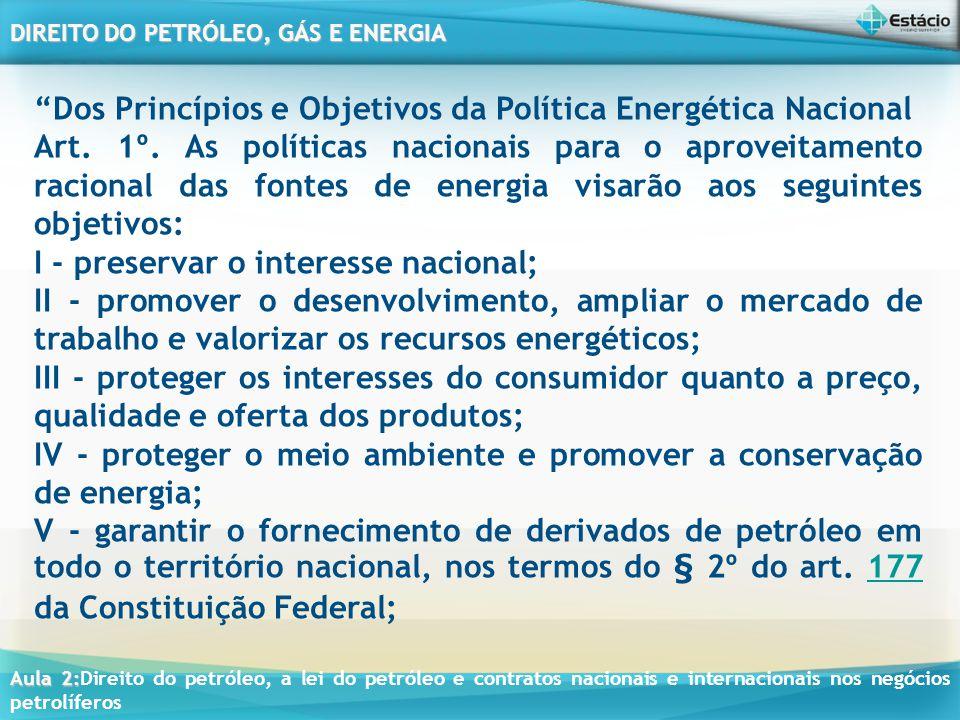 Dos Princípios e Objetivos da Política Energética Nacional