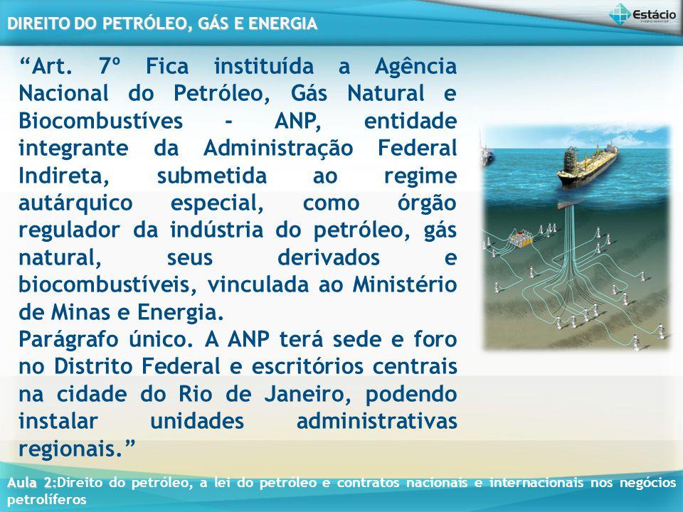 Art. 7º Fica instituída a Agência Nacional do Petróleo, Gás Natural e Biocombustíves - ANP, entidade integrante da Administração Federal Indireta, submetida ao regime autárquico especial, como órgão regulador da indústria do petróleo, gás natural, seus derivados e biocombustíveis, vinculada ao Ministério de Minas e Energia.