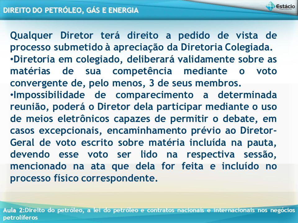 Qualquer Diretor terá direito a pedido de vista de processo submetido à apreciação da Diretoria Colegiada.