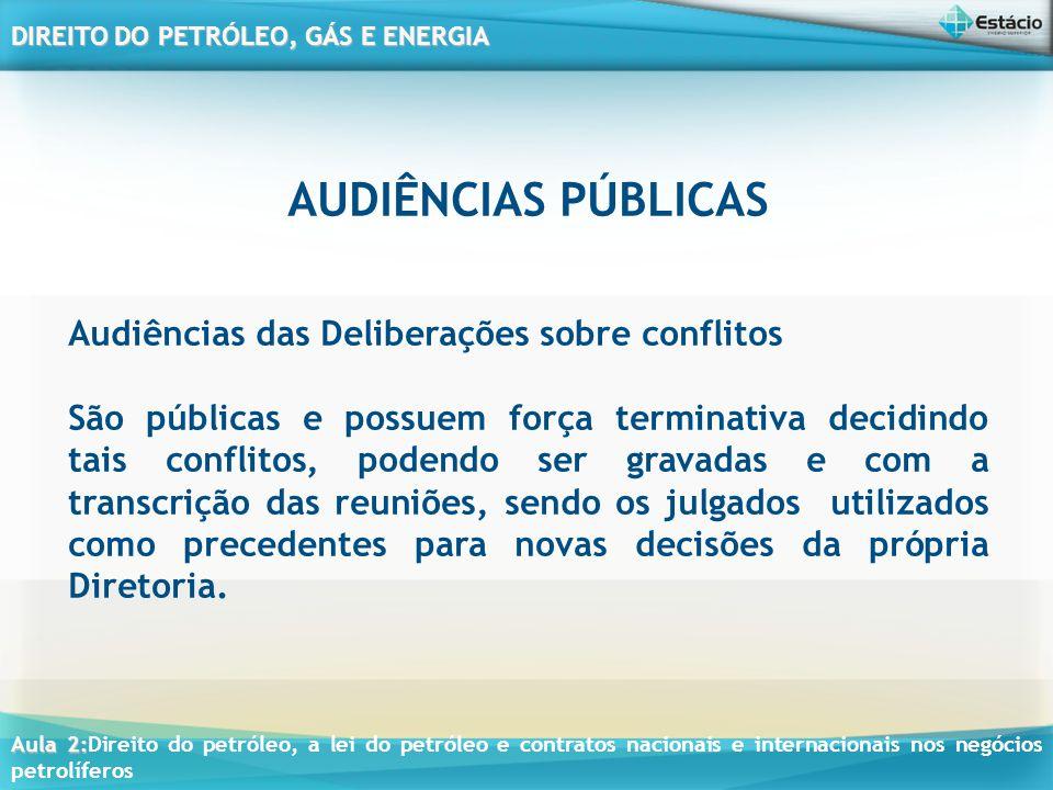 AUDIÊNCIAS PÚBLICAS Audiências das Deliberações sobre conflitos