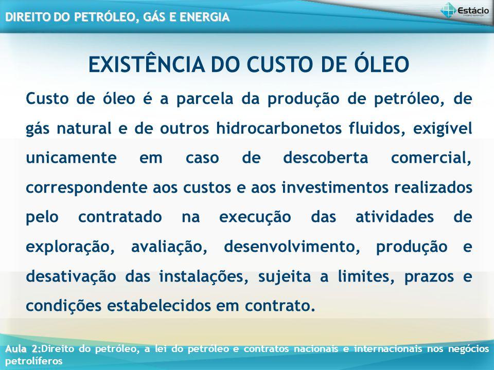 EXISTÊNCIA DO CUSTO DE ÓLEO