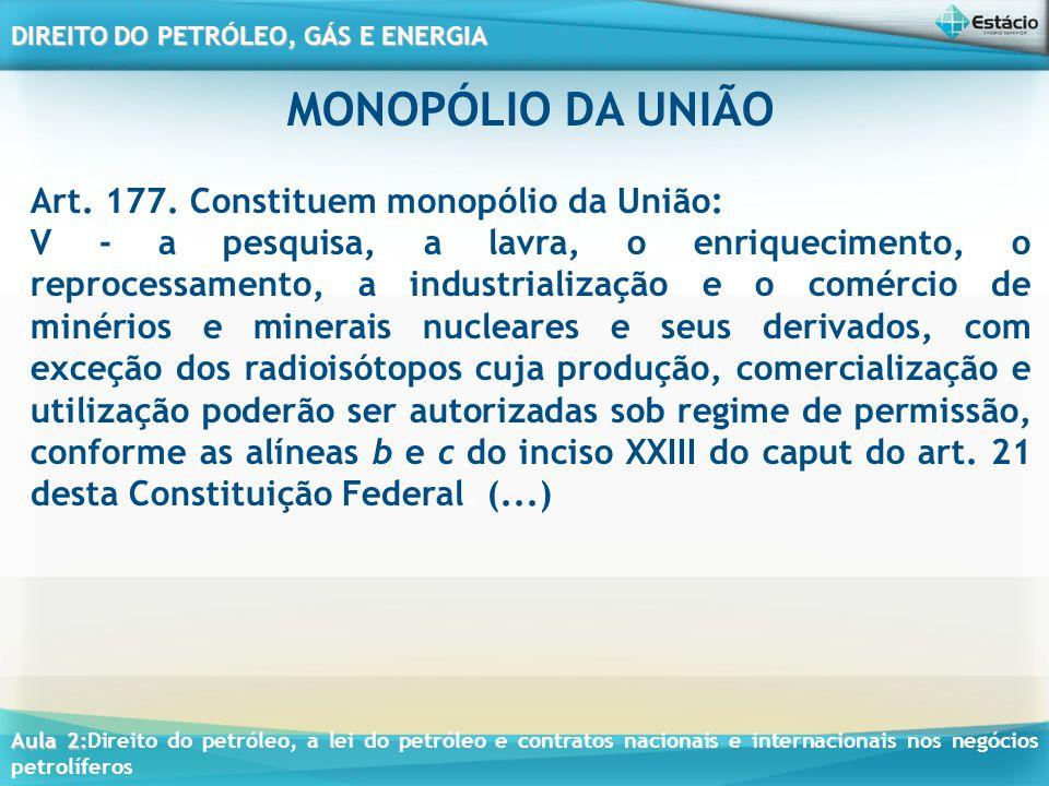 MONOPÓLIO DA UNIÃO Art. 177. Constituem monopólio da União: