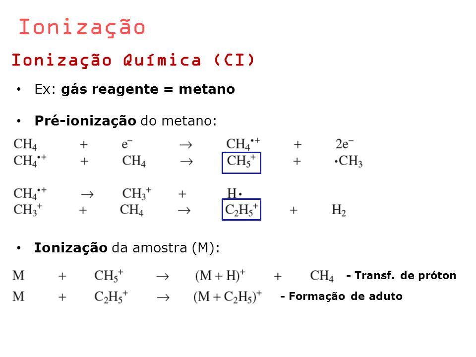 Ionização Ionização Química (CI) Ex: gás reagente = metano