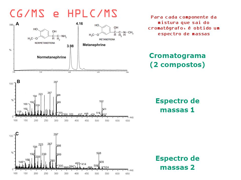 CG/MS e HPLC/MS Cromatograma (2 compostos) Espectro de massas 1