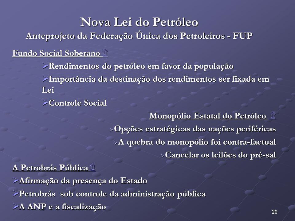 Nova Lei do Petróleo Anteprojeto da Federação Única dos Petroleiros - FUP