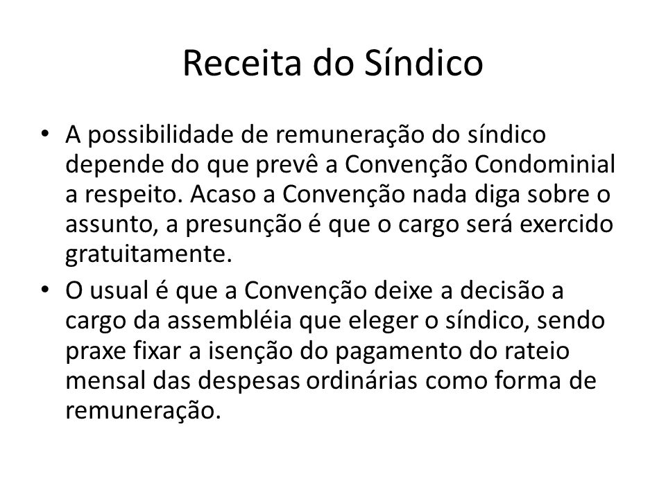 Receita do Síndico
