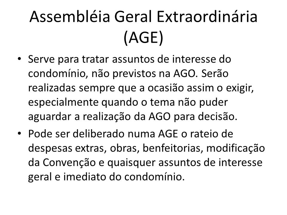 Assembléia Geral Extraordinária (AGE)