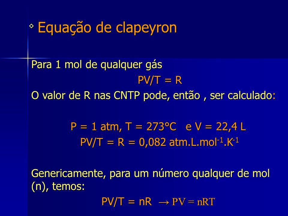Equação de clapeyron Para 1 mol de qualquer gás PV/T = R