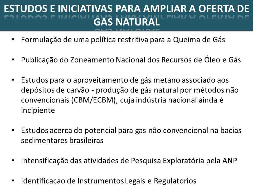 ESTUDOS E INICIATIVAS PARA AMPLIAR A OFERTA DE GAS NATURAL