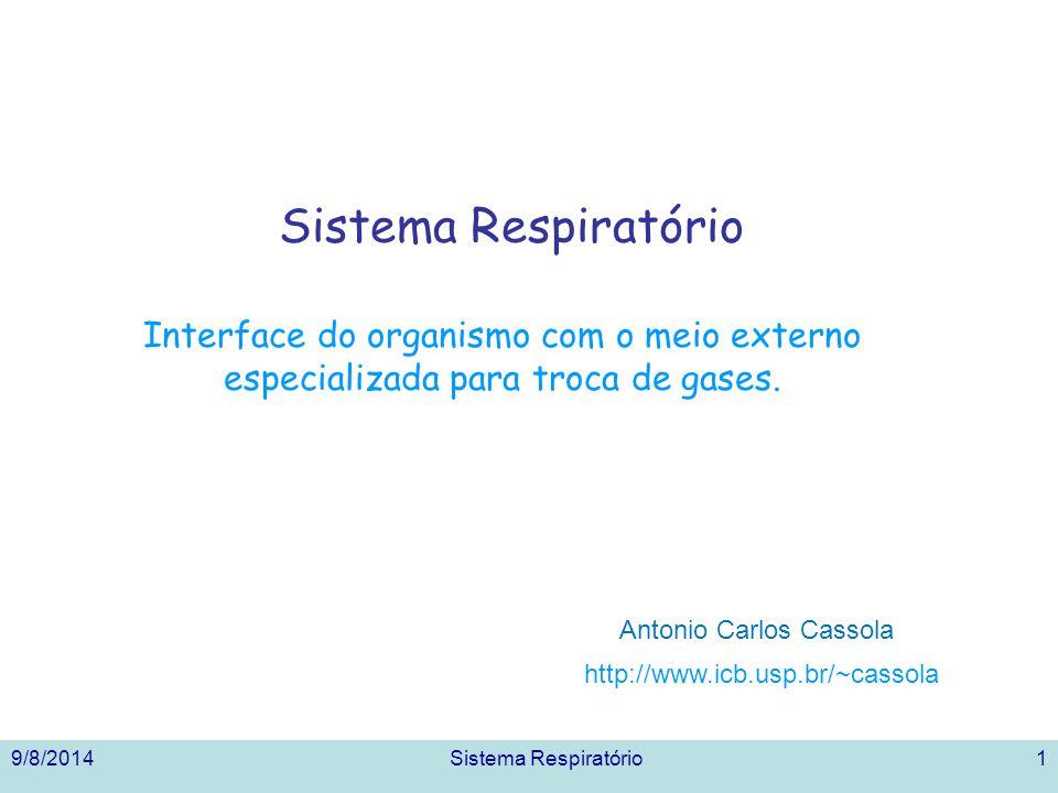 Sistema Respiratório Interface do organismo com o meio externo especializada para troca de gases. Antonio Carlos Cassola.